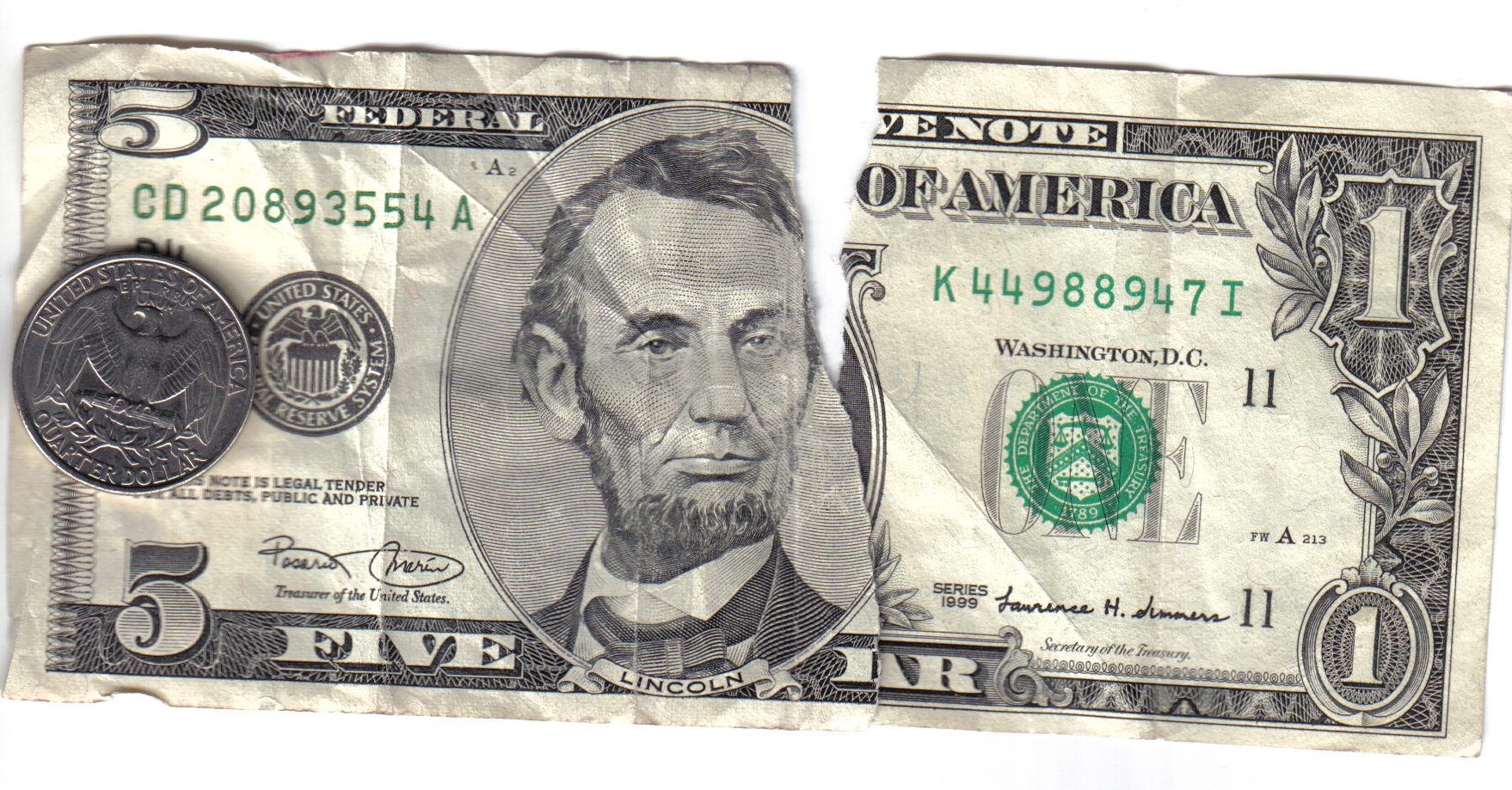 Seis dólares y veinticinco centavos
