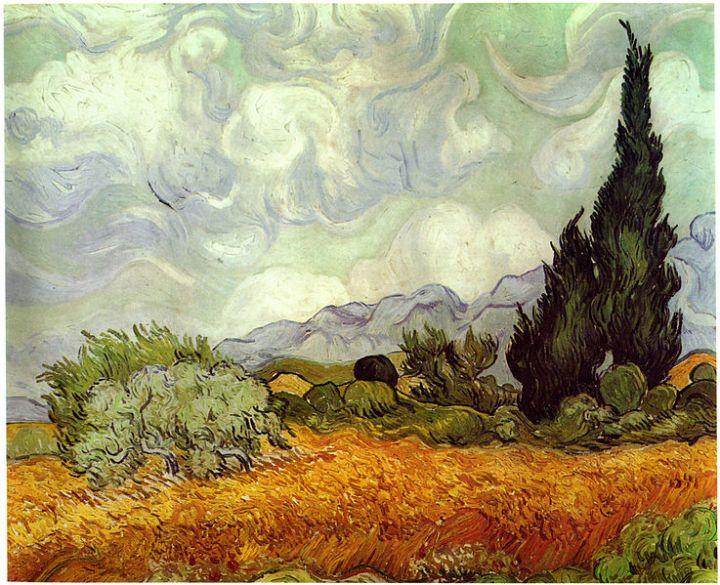 Vincent Van Gogh - Campo de grano con ciprés